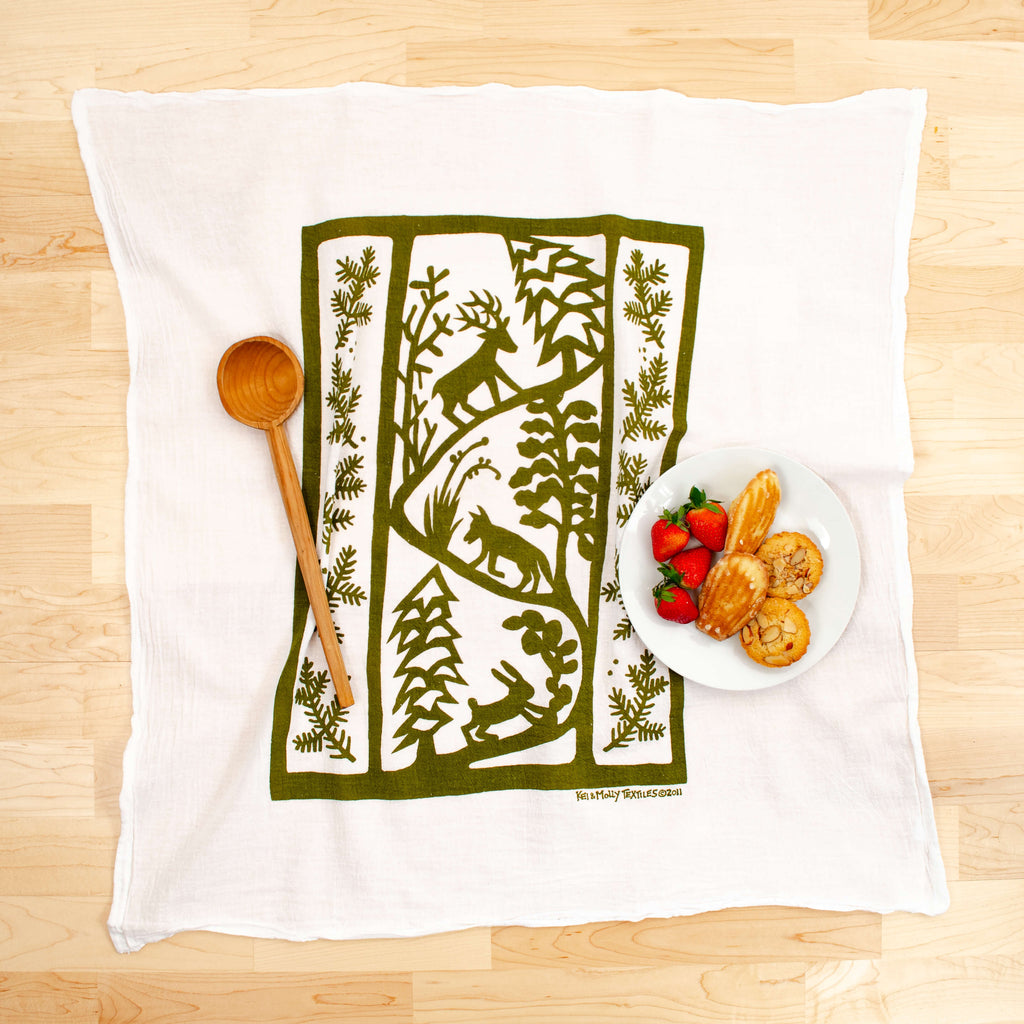 Kei & Molly Winter Animals Flour Sack Dish Towel in Olive Green with Props