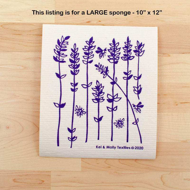 Kei & Molly Large Sponge Cloth in Lavender Sprigs Design in Purple