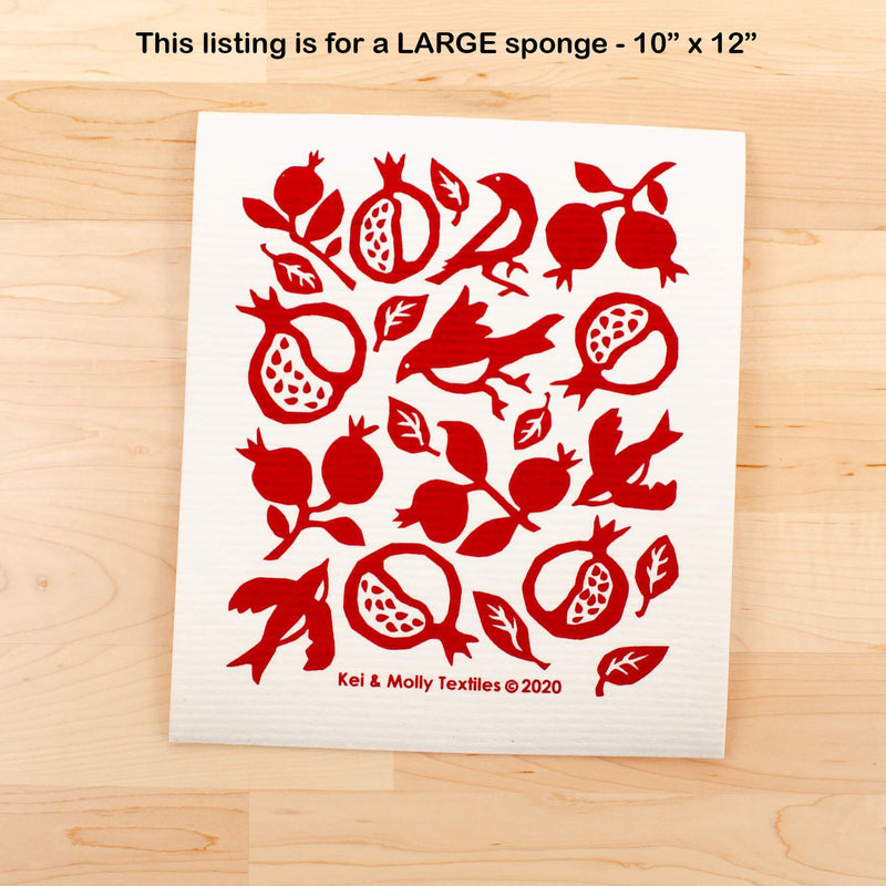 Kei & Molly Large Sponge Cloth in Pomegranate Design in Red