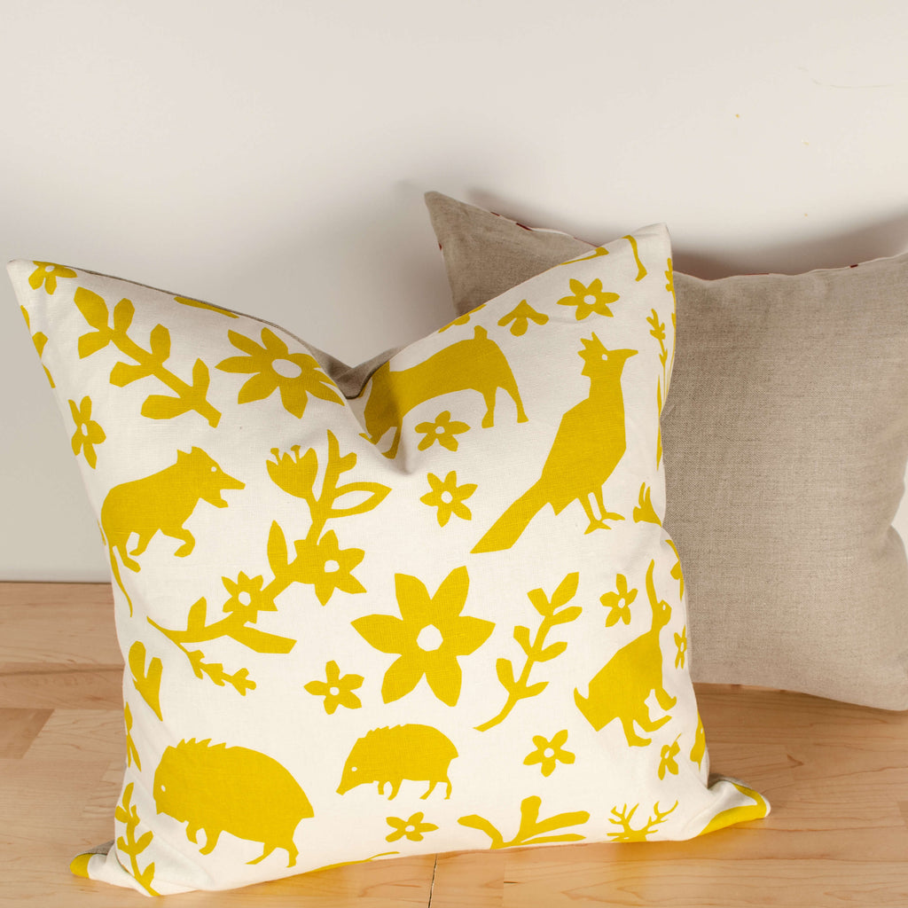 Kei & Molly Pillow Cover in Buffalo & Friends Design in Gold Filled View