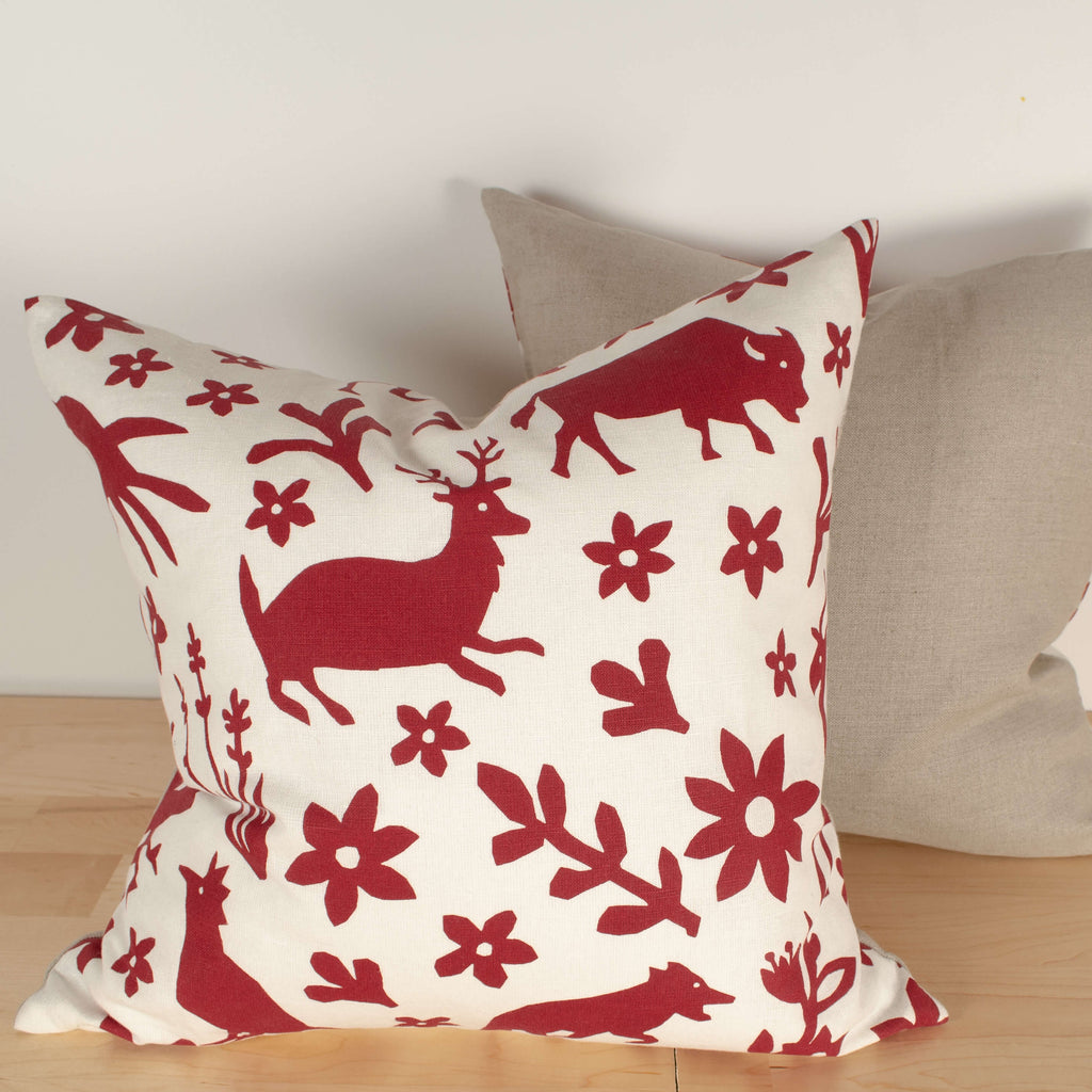 Kei & Molly Pillow Cover in Buffalo & Friends Design in Red Filled View