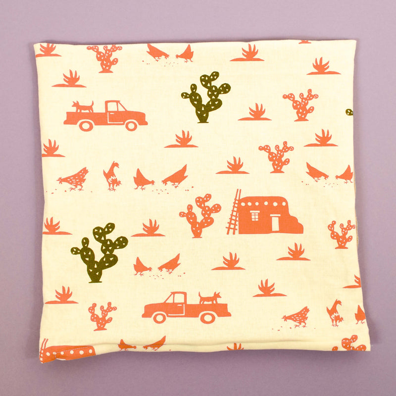 Kei & Molly Pillow Cover in Pueblo Design in Desert Coral and Olive Green Flat View