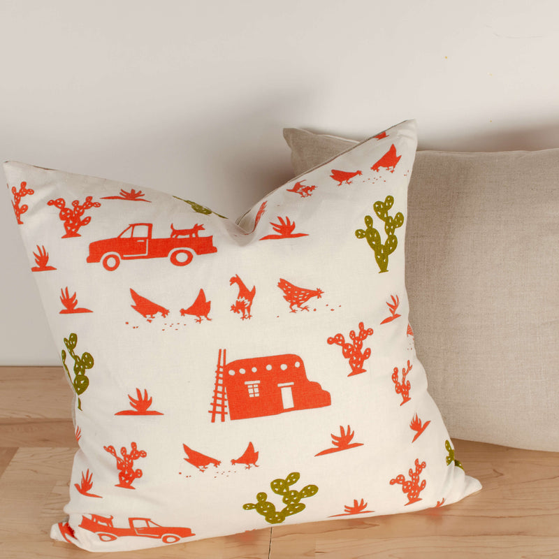 Kei & Molly Pillow Cover in Pueblo Design in Desert Coral and Olive Green Filled View