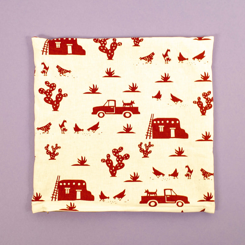 Kei & Molly Pillow Cover in Pueblo Design in Red Flat View