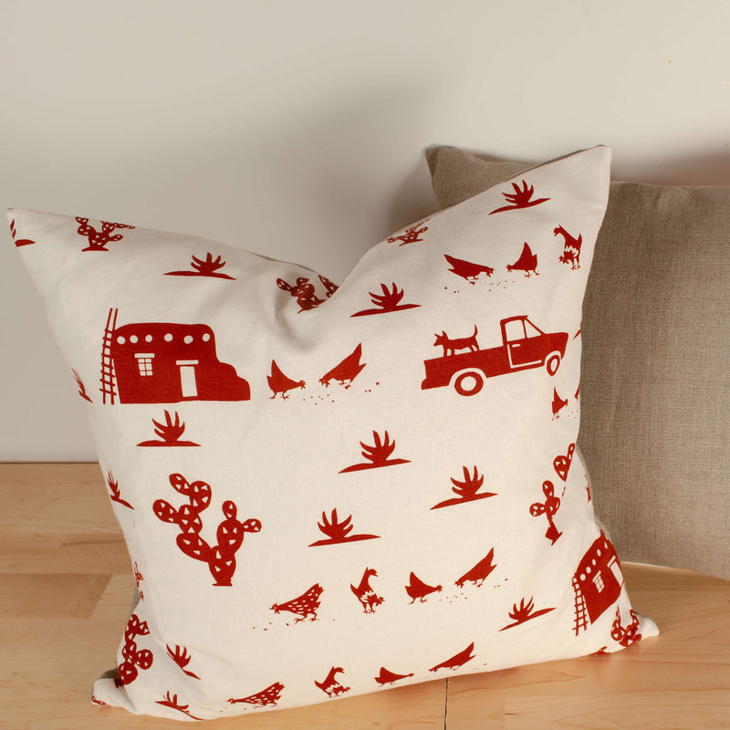Kei & Molly Pillow Cover in Pueblo Design in Red Filled View