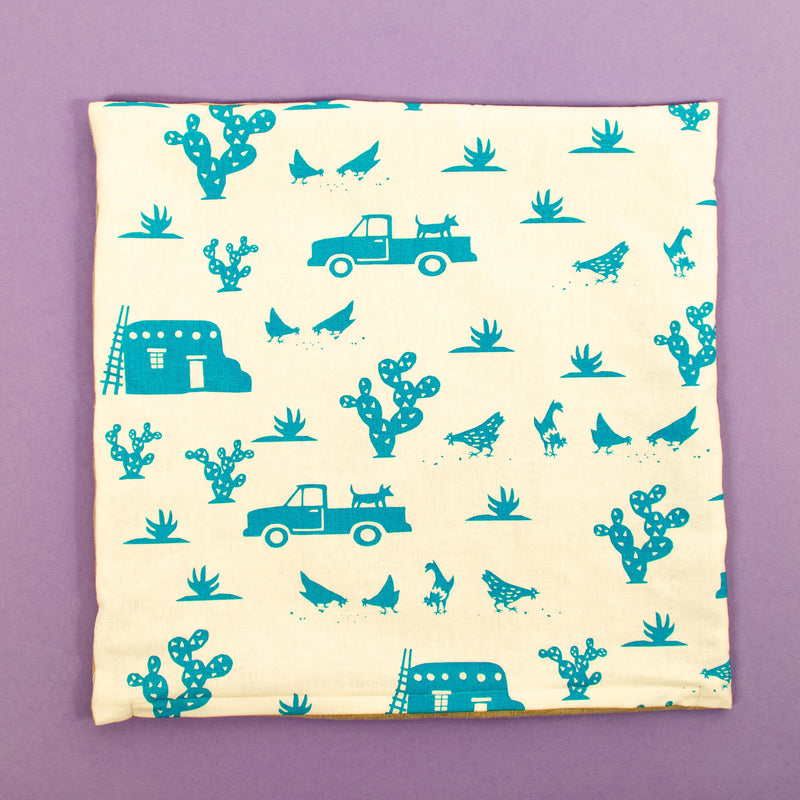 Kei & Molly Pillow Cover in Pueblo Design in Turquoise Flat View