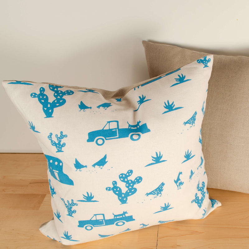 Kei & Molly Pillow Cover in Pueblo Design in Turquoise Filled View