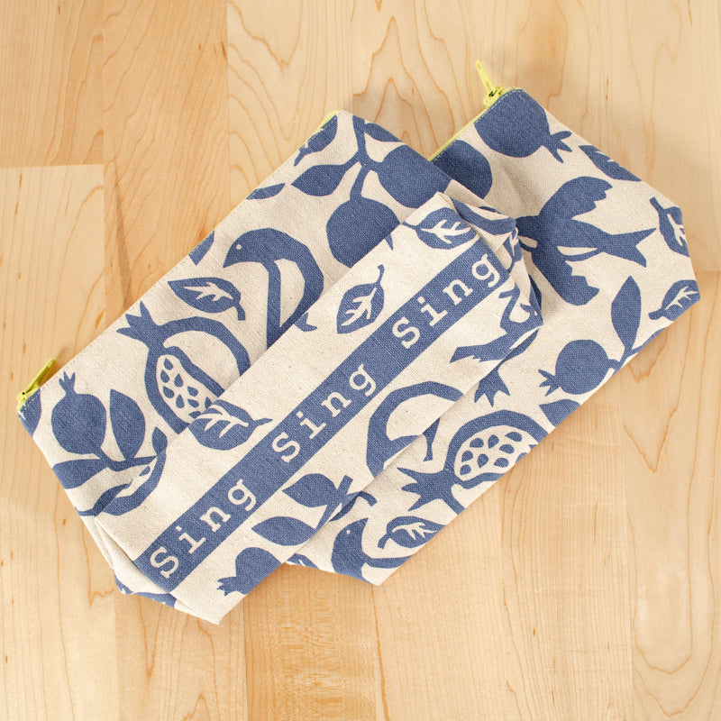 Kei & Molly Pouch with Pomegranate Design in Steel Blue Bottom View