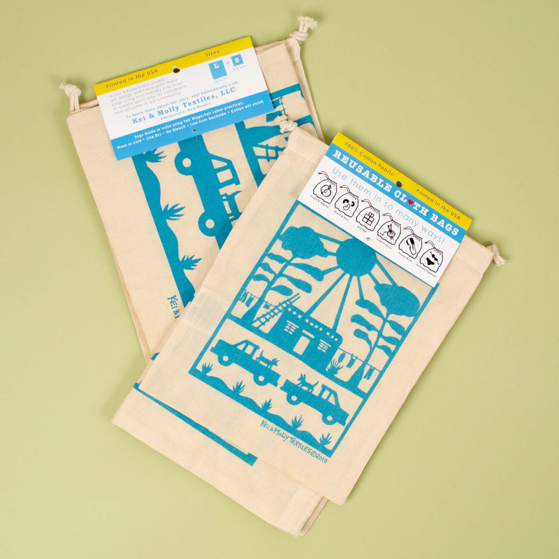 Kei & Molly Reusable Cloth Bag Set in Adobe House Design in Turquoise with Fold Over Tag