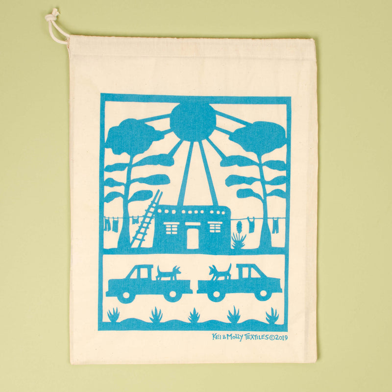 Kei & Molly Adobe House Reusable Cloth Bag in Turquoise Single Full View