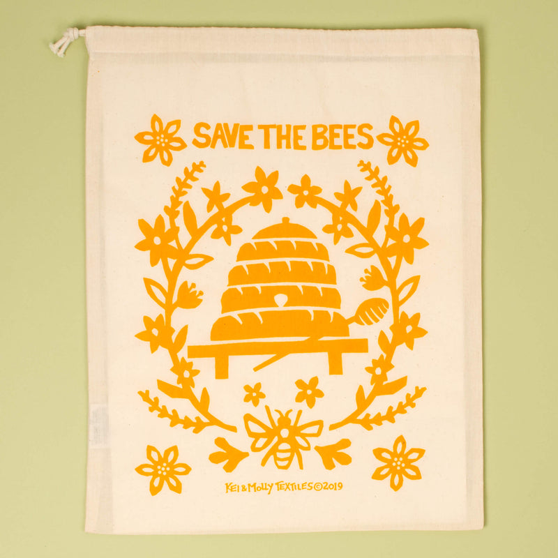 Kei & Molly Bees Reusable Cloth Bag in Squash Single Full View