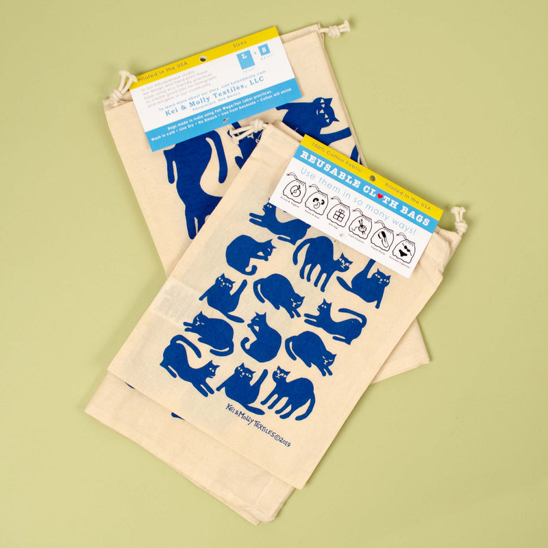 Kei & Molly Reusable Cloth Bag Set in Cats Design in Marine Blue with Fold Over Tag