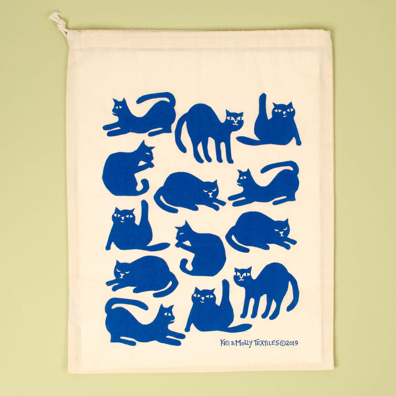 Kei & Molly Cats Reusable Cloth Bag in Marine Blue Single Full View