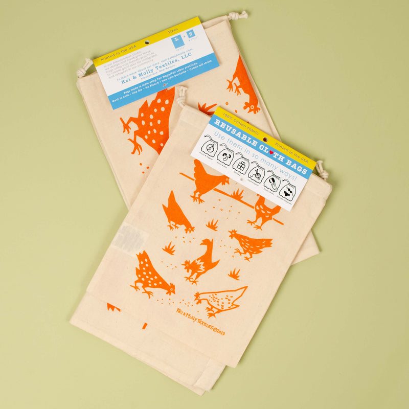 Kei & Molly Reusable Cloth Bag Set in Chickens Design in Orange with Fold Over Tag