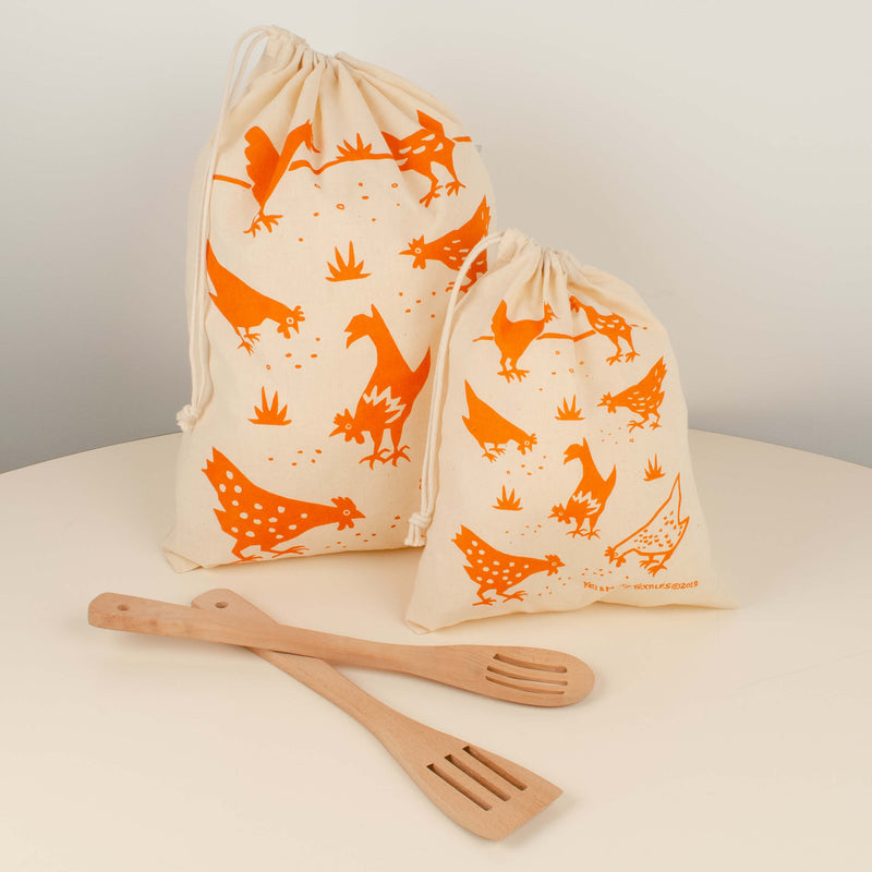 Kei & Molly Reusable Cloth Bag Set in Chickens Design in Orange with Props