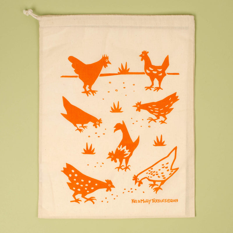 Kei & Molly Chickens Reusable Cloth Bag in Orange Single Full View