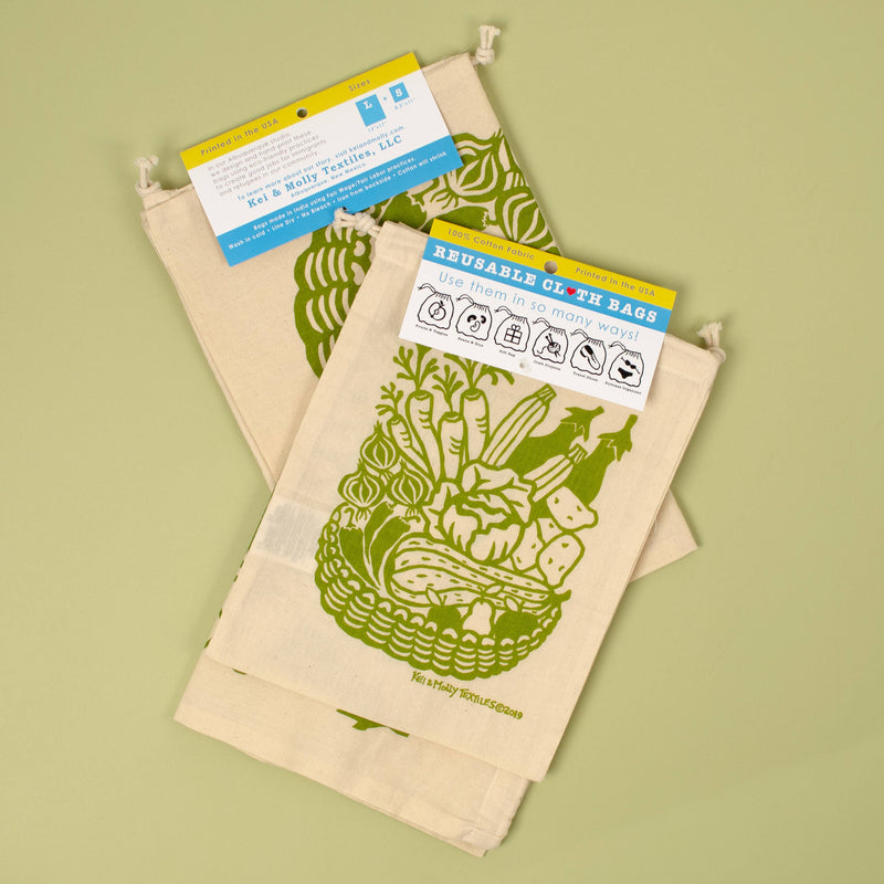 Kei & Molly Reusable Cloth Bag Set in Produce Design in Green with Fold Over Tag