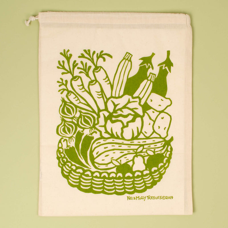 Kei & Molly Produce Reusable Cloth Bag in Green Single Full View