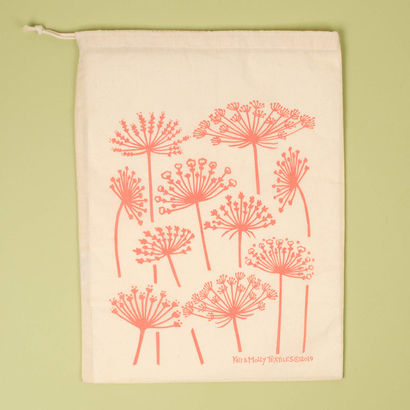 Kei & Molly Queen Anne's Lace Reusable Cloth Bag in Dusty Rose Single Full View
