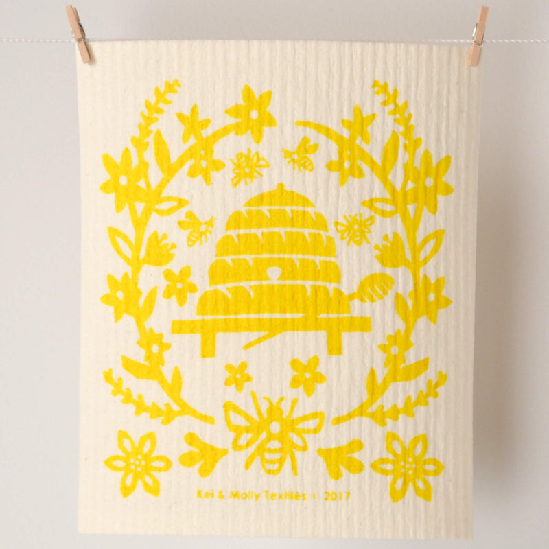 Kei & Molly Sponge Cloth with Bees Design in Yellow