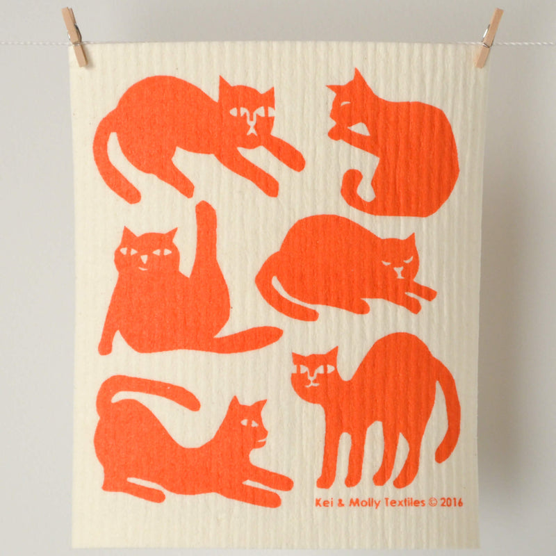 Kei & Molly Sponge Cloth with Cats Design in Burnt Orange