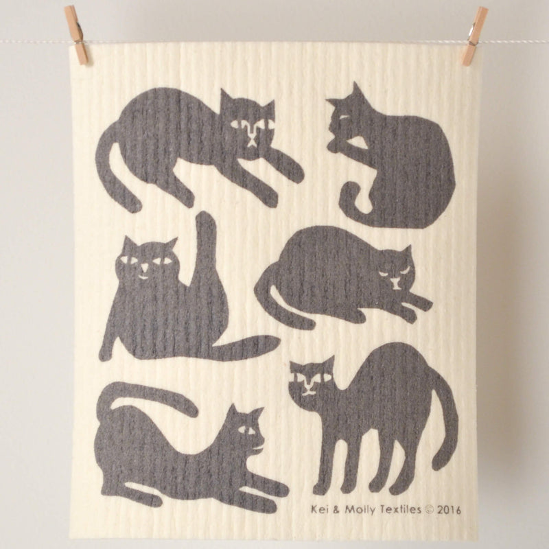 Kei & Molly Sponge Cloth with Cats Design in Grey