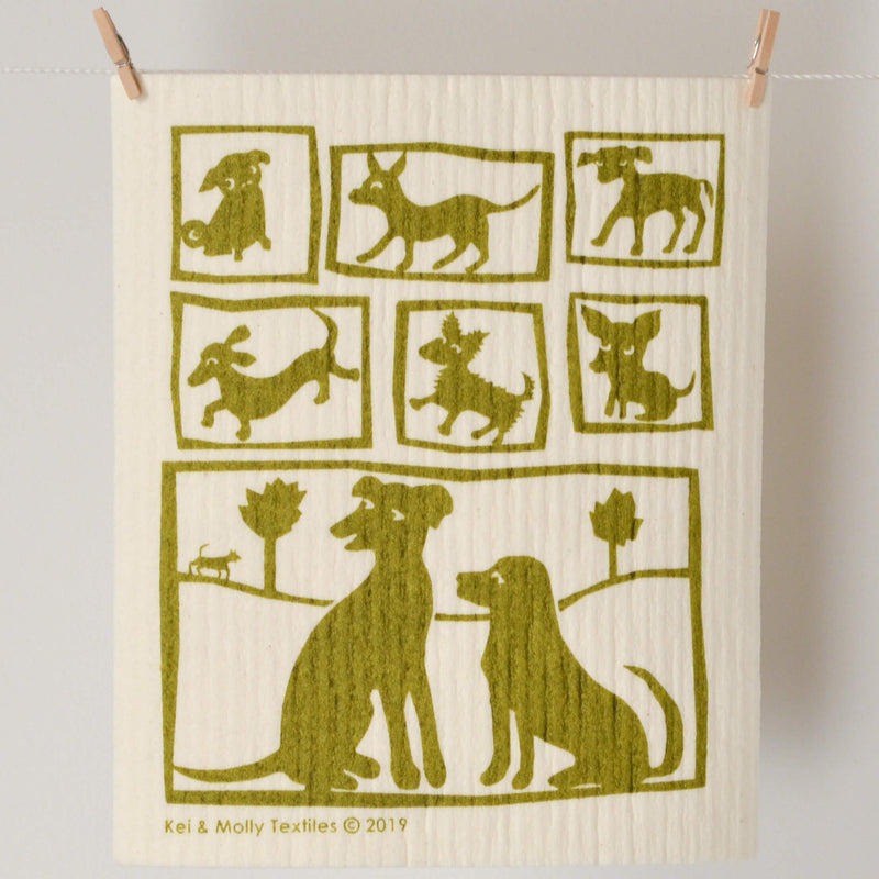 Kei & Molly Sponge Cloth with Dogs Design in Olive Green