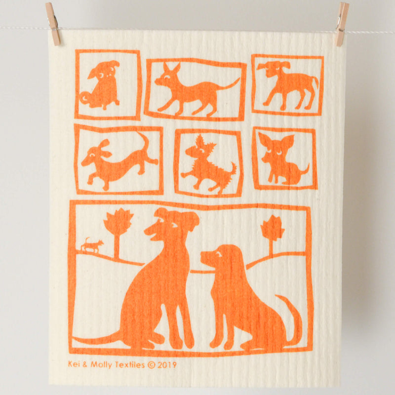 Kei & Molly Sponge Cloth with Dogs Design in Orange