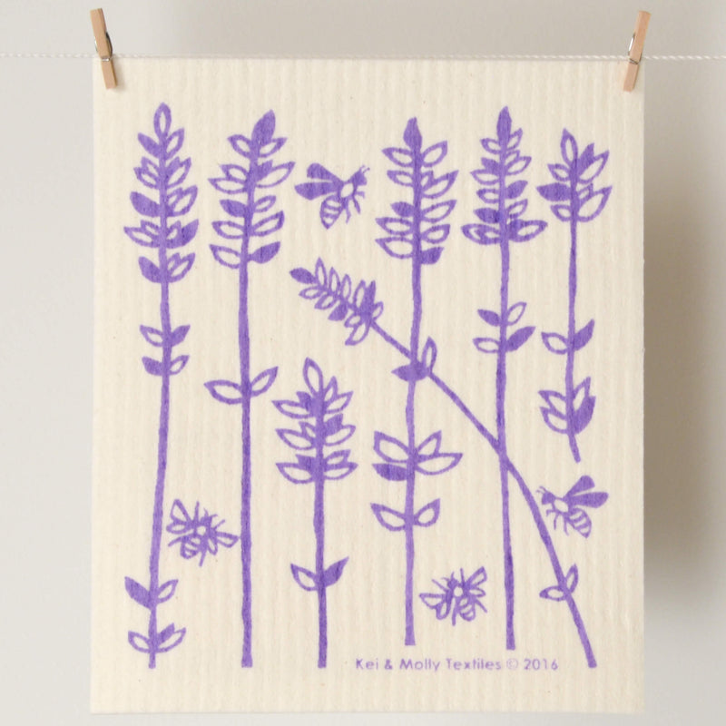 Kei & Molly Sponge Cloth with Lavender Sprigs Design in Lilac