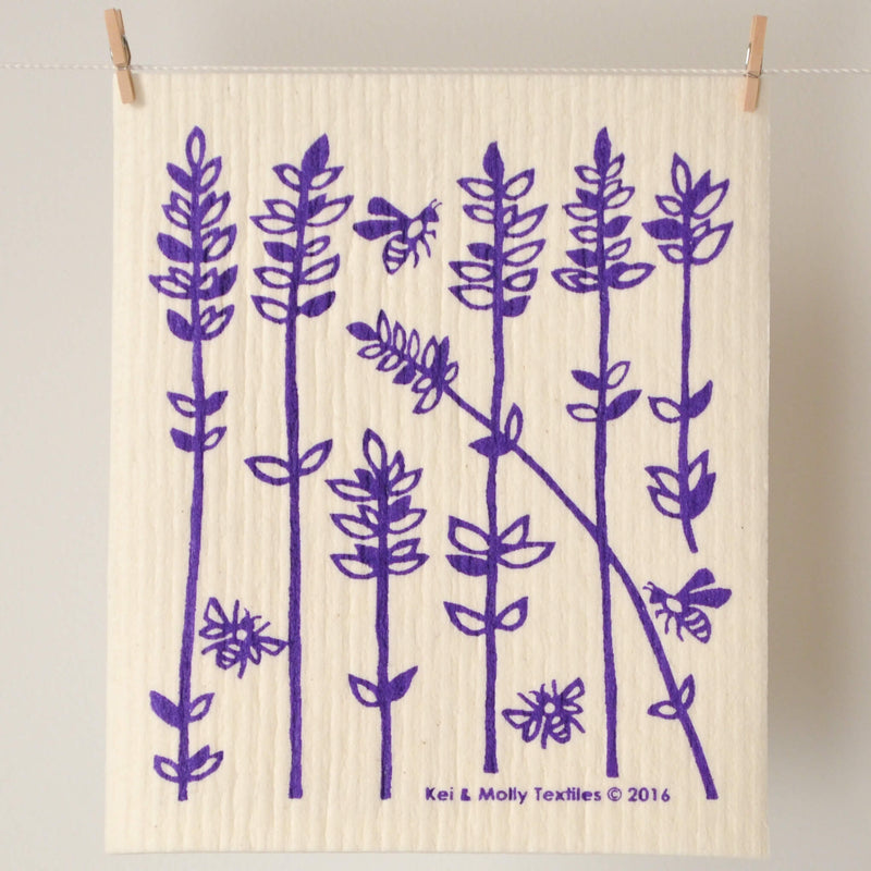 Kei & Molly Sponge Cloth with Lavender Sprigs Design in Purple