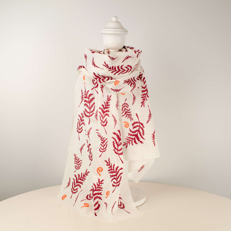 Kei & Molly Scarf in Fern Design in Wine Red & Desert Coral Full View