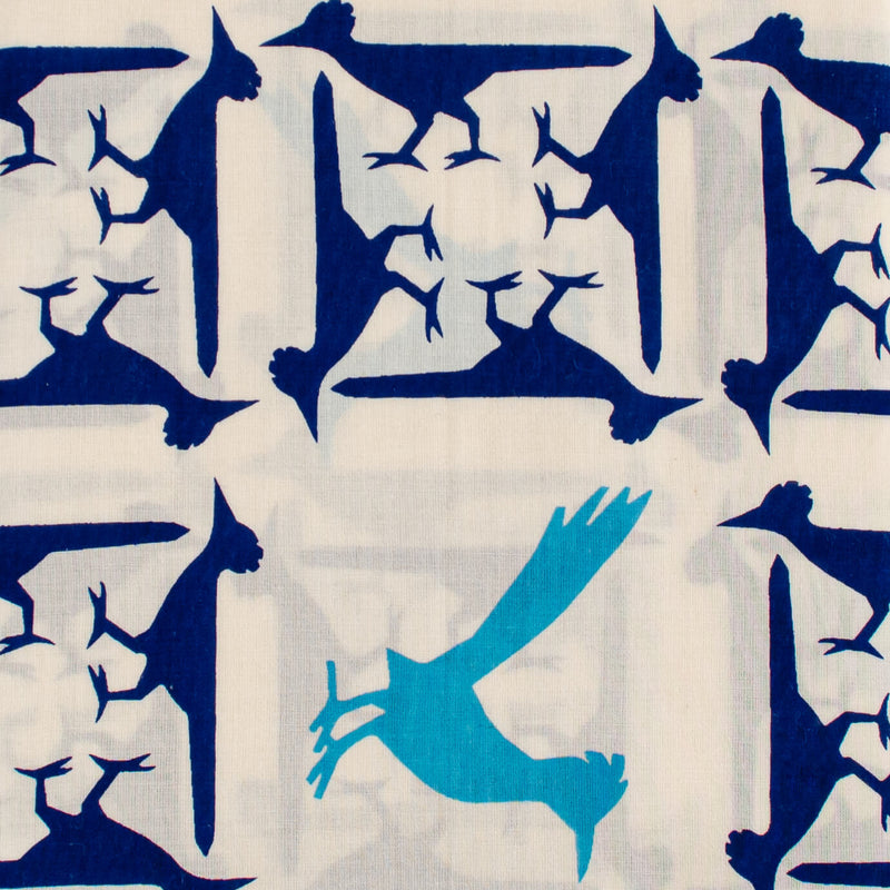 Kei & Molly Scarf in Roadrunners Design in Indigo and Turquoise Detail View