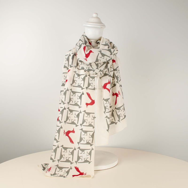 Kei & Molly Scarf in Roadrunners Design in Grey and Red Full View