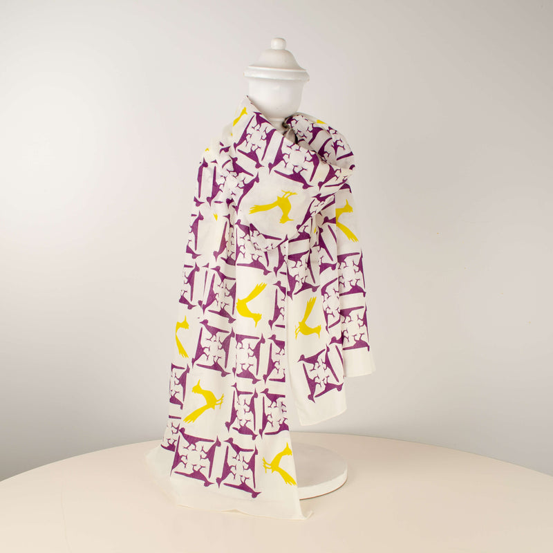 Kei & Molly Scarf in Roadrunners Design in Grape & Gold Full View