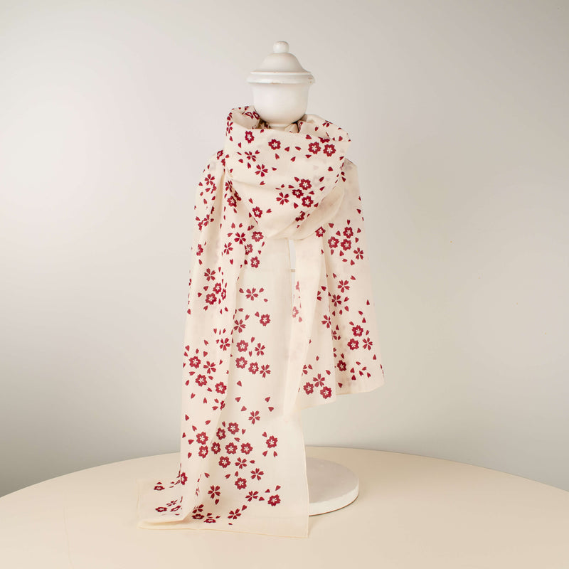 Kei & Molly Scarf in Sakura Design in Wine Red Full View