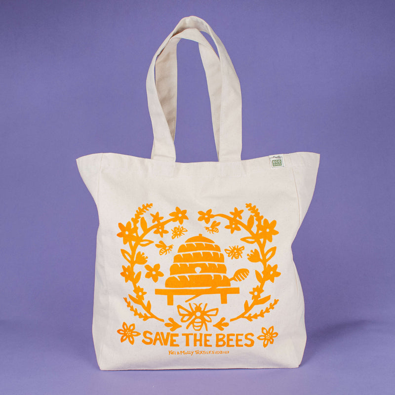 Kei & Molly Tote Bag with Bees Design in Squash