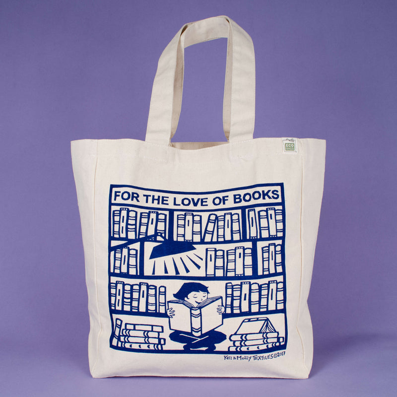 Kei & Molly Tote Bag with Books Design in Indigo