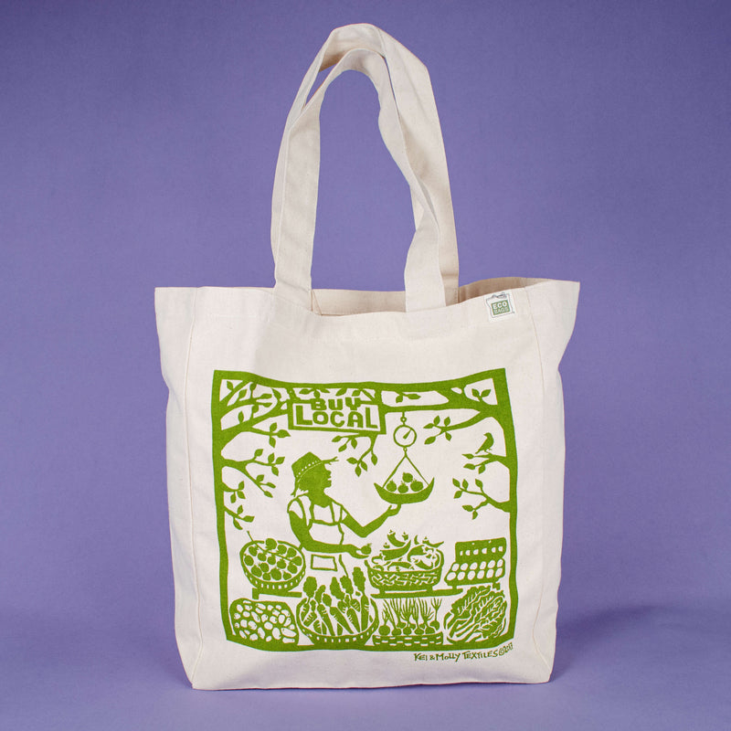 Kei & Molly Tote Bag with Buy Local Design in Green
