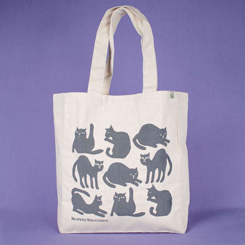 Kei & Molly Tote Bag with Cats Design in Grey