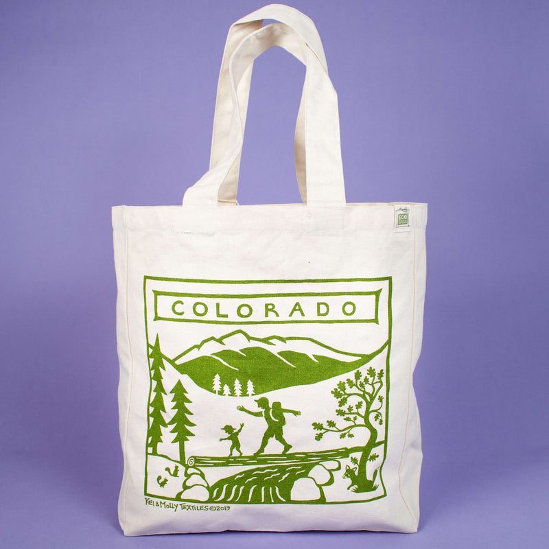 Kei & Molly Tote Bag with Colorado Design in Green