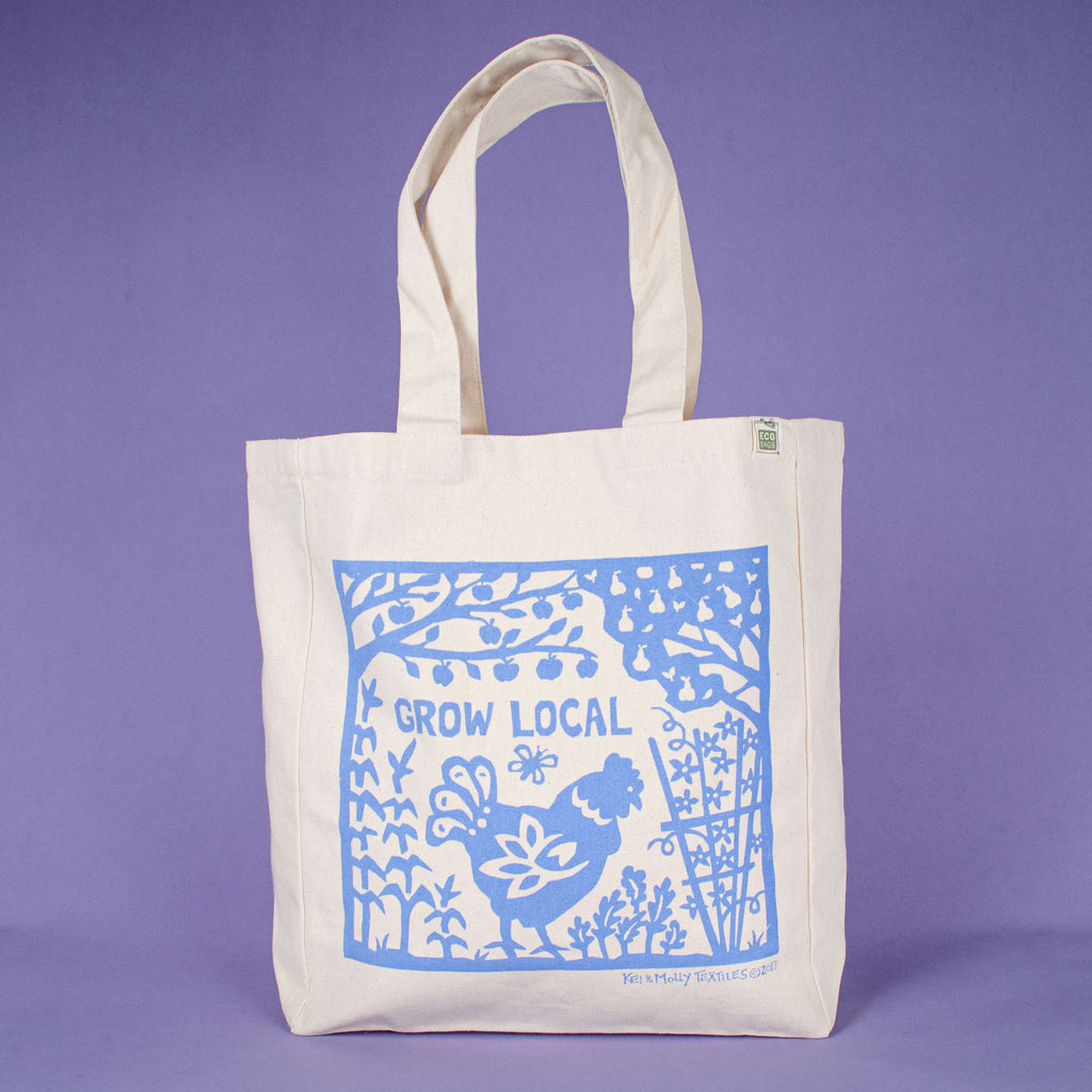 Kei & Molly Tote Bag with Grow Local Design in Sky Blue