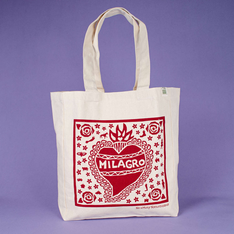 Kei & Molly Tote Bag with Milagro Design in Red