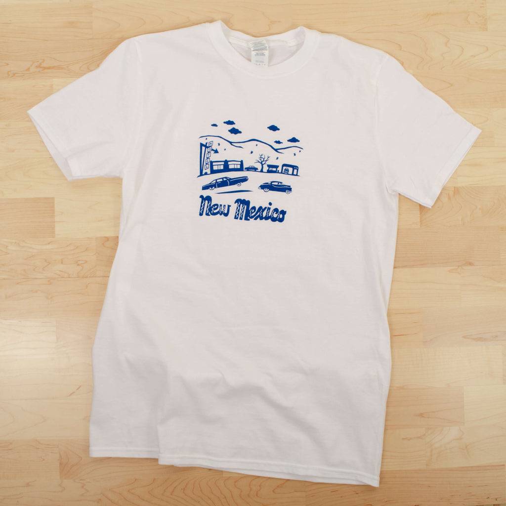 Kei & Molly Men's T-shirt in New Mexico Design in Marine Blue Flat View