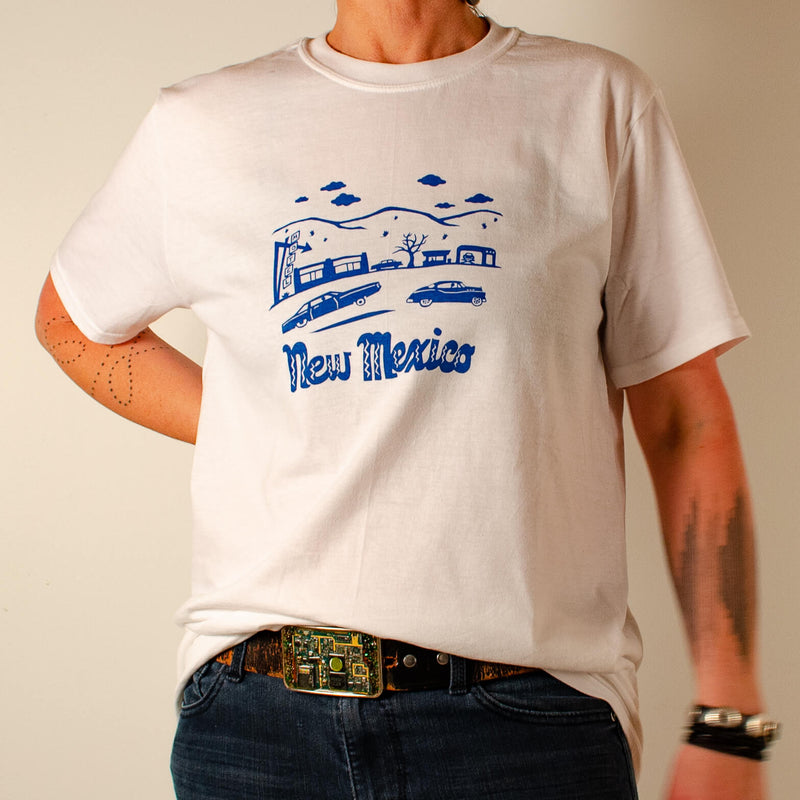 Kei & Molly Men's T-shirt in New Mexico Design in Marine Blue Full View