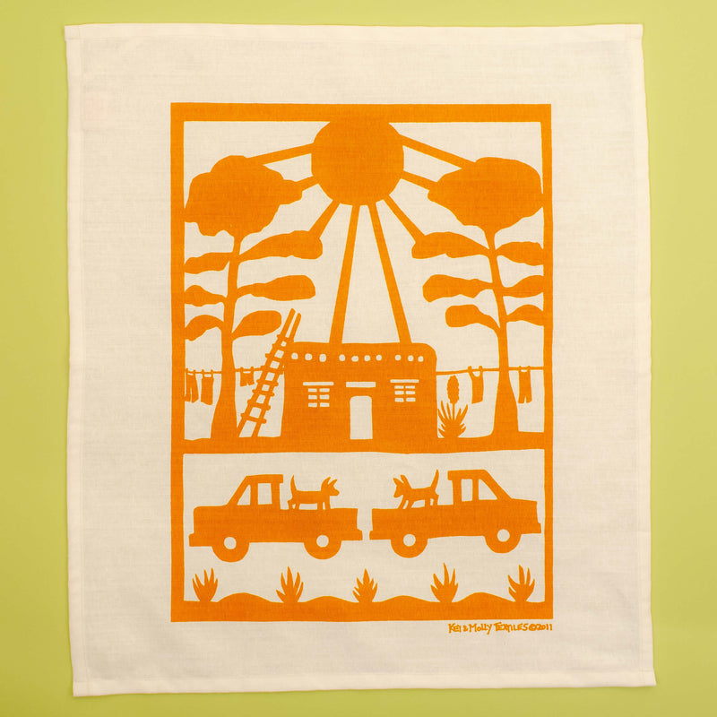 Kei & Molly Linen/Cotton Tea Towel with Adobe House Design in Orange Full View