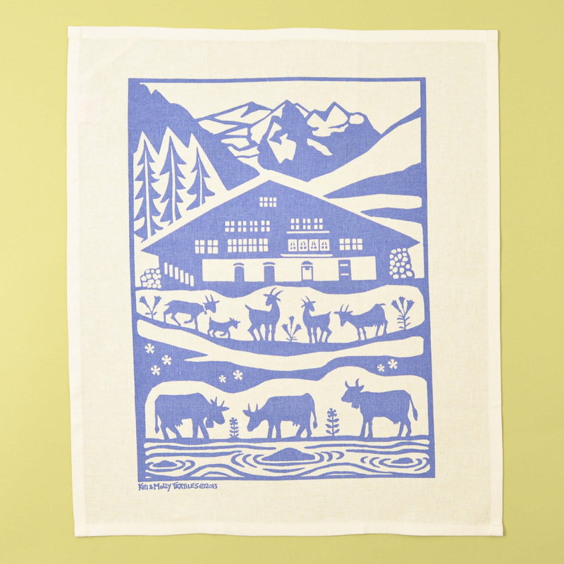 Kei & Molly Linen/Cotton Tea Towel with Alps Design in Steel Blue Full View