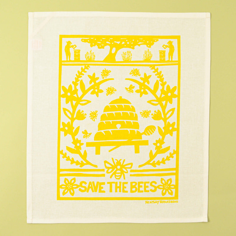 Kei & Molly Linen/Cotton Tea Towel with Bees Design in Yellow Full View