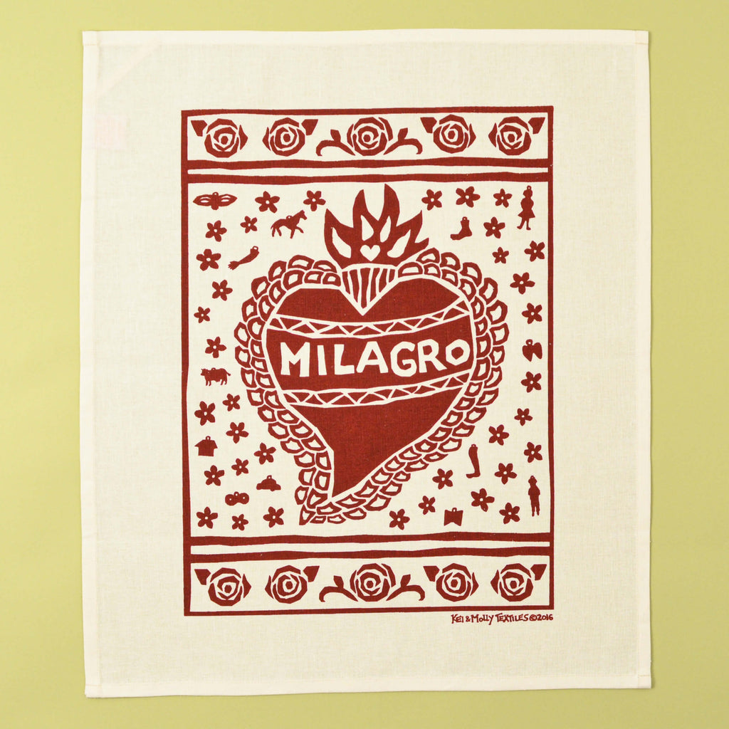 Kei & Molly Linen/Cotton Tea Towel with Milagro Design in Red Full View
