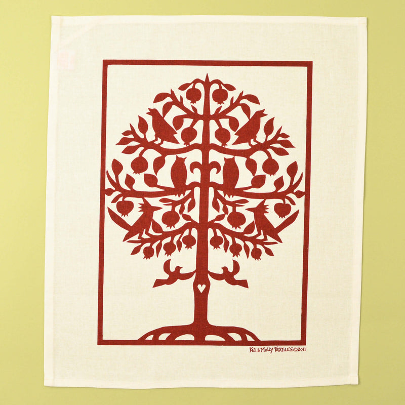Kei & Molly Linen/Cotton Tea Towel with Tree of Life Design in Red Full View