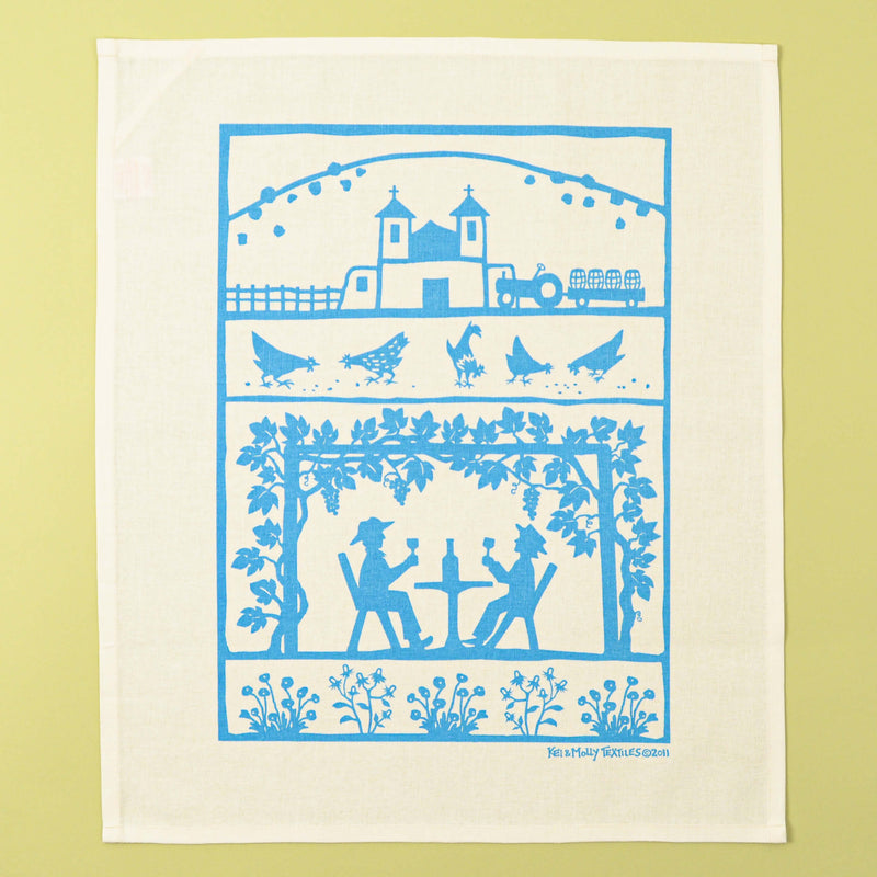 Kei & Molly Linen/Cotton Tea Towel with Vineyard Design in Turquoise Full View